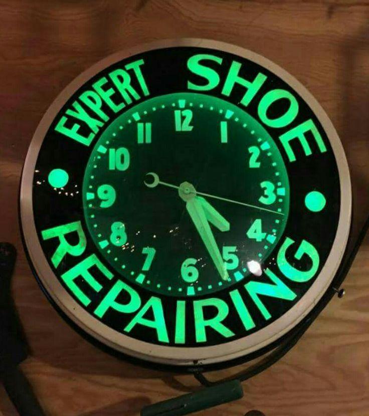 Restored Original Expert Shoe Repairing Neon Clock