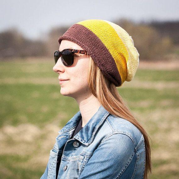 Brown Beige Yellow Striped Slouchy Beanie Hat / 100% by RUKAMIshop