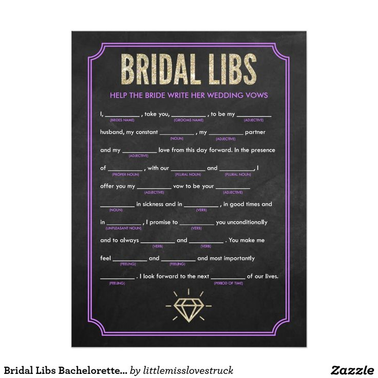 words to write in wedding shower card%0A Bridal Libs Bachelorette Party Game Card  purple