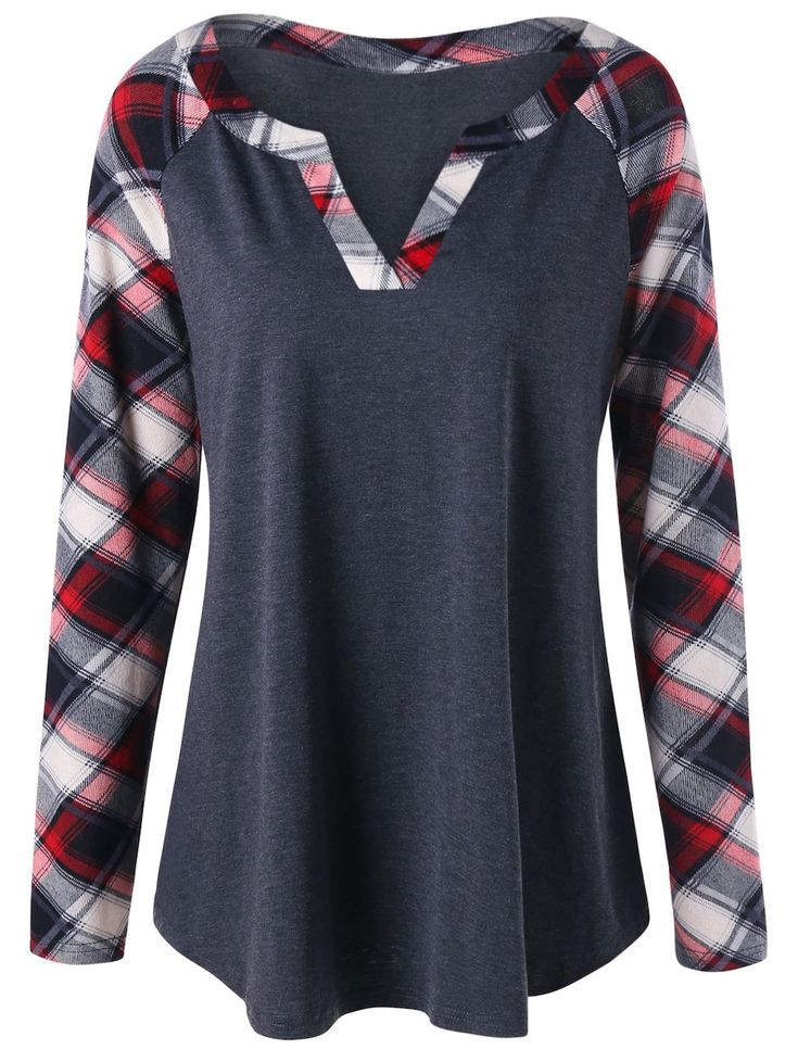 t shirt carreaux en plaid manches raglan grande taille ropa pinterest blusas y ropa. Black Bedroom Furniture Sets. Home Design Ideas