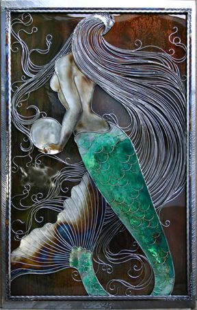 Mermaid with a Pearl metal art....maybe with some aqua paint