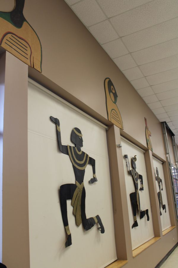 Egyptian Party : Decor idea : Cut out figures on pull down shades : done in gold and black : great Egypt party idea