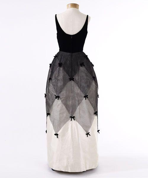 Evening Dress with Black Velvet Bodice and Ivory Satin Skirt with Tulle Overlay, 1963 (back)