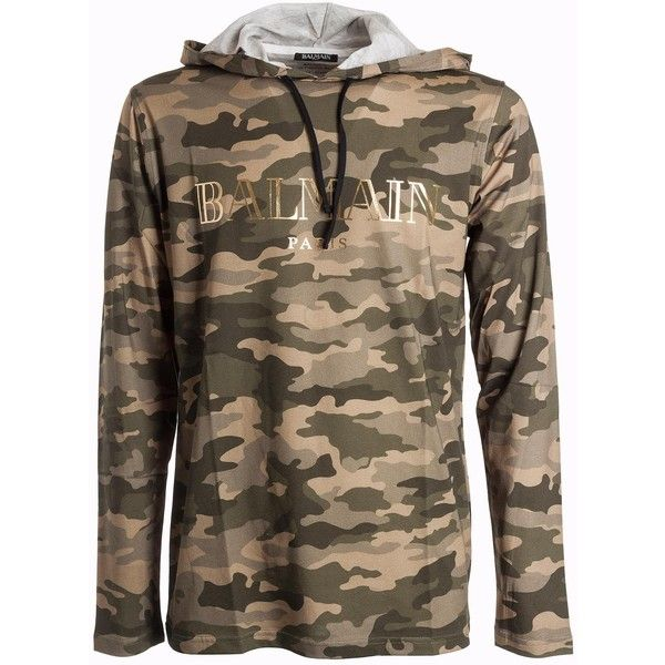 Camouflage Hoodie ($410) ❤ liked on Polyvore featuring men's fashion, men's clothing, men's hoodies, camouflage, mens sweatshirts and hoodies, mens camo hoodies, mens camouflage hoodies and mens hoodies