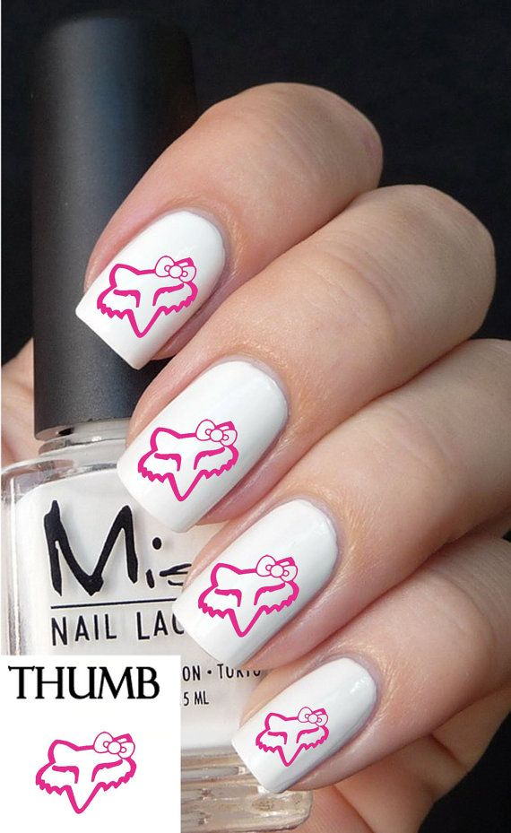 Pink  fox racing Nail Decals nail decal nail art by DesignerNails, $3.95