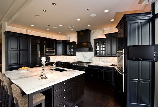 Latest kitchen design in black color