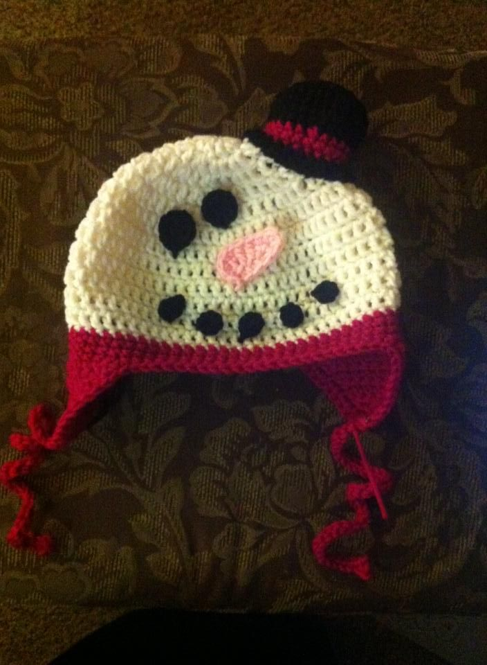 Snowman earflap hat. Pattern from RepeatcrafterMe