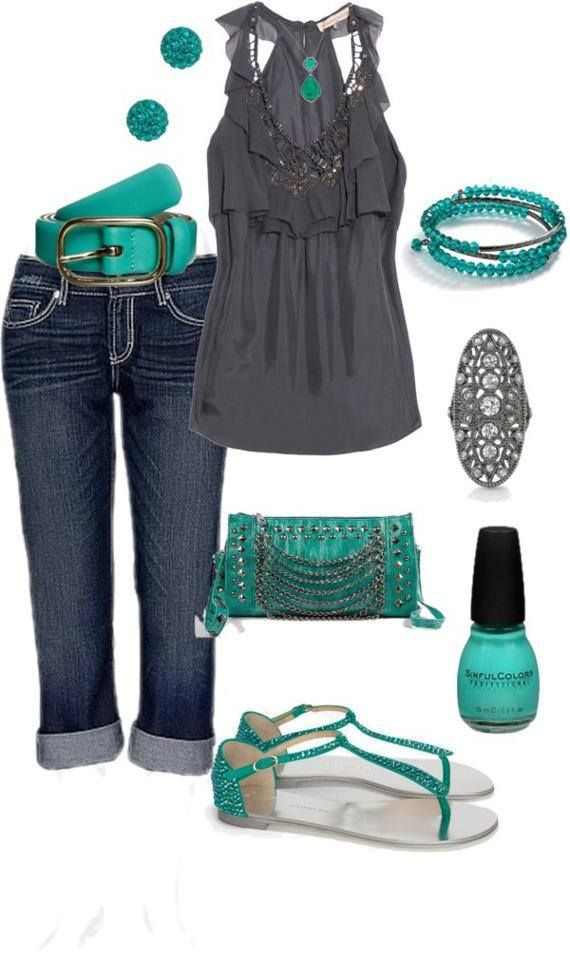 Gray and turquoise. I love how this top is a V neck and cinches at the waist…