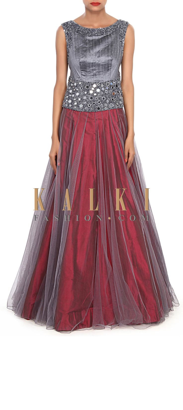 Buy Online from the link below. We ship worldwide (Free Shipping over US$100) Price-$489 Click Anywhere to Tag http://www.kalkifashion.com/grey-and-maroon-gown-embellished-in-mirror-and-moti-embroidery-only-on-kalki.html