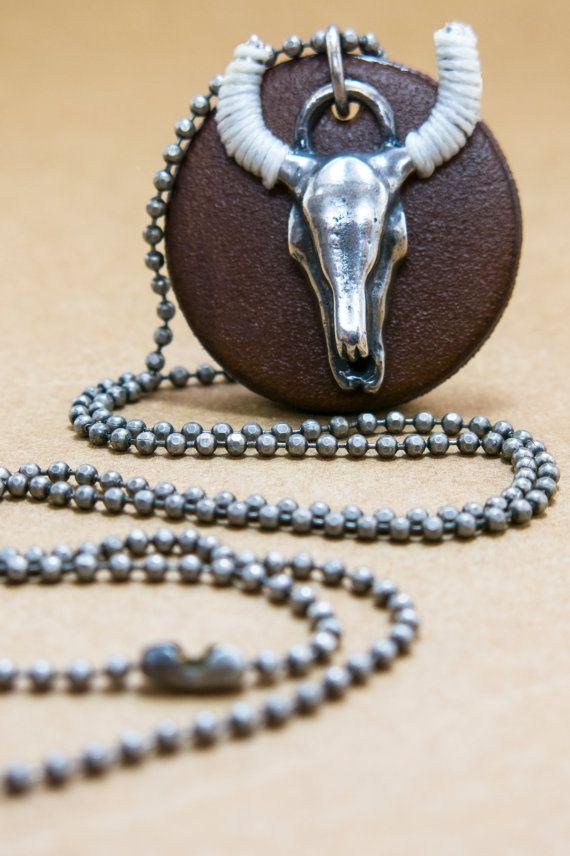 Cyber Monday Sale Mens necklace Bull head by MensJewelryByMagoo