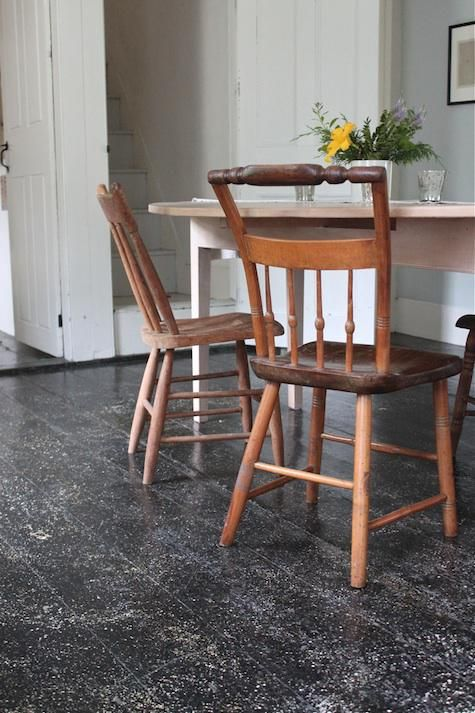 Splatter-painted floors - perfect for covering up our less than perfect floorboards