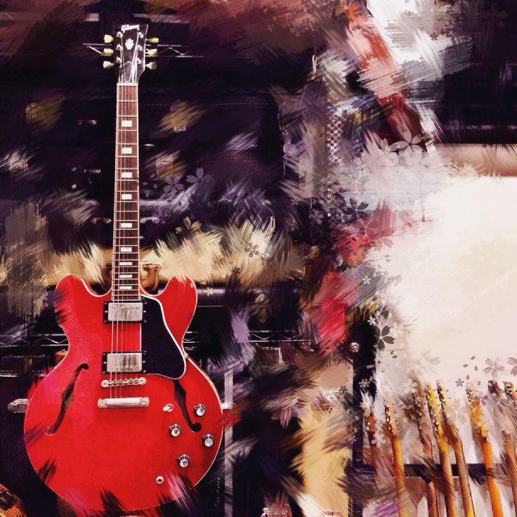 A digitalized canvas, still a beauty of ES 335 #Gibson #Custom