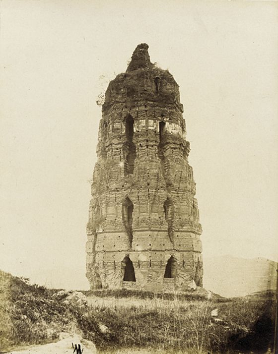 Crumbling Brick Pagoda, China, Song Dynasty (AD960-1279).  Photo from 1860.