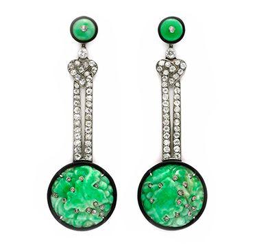 FD Gallery | A Pair of Art Deco Carved Jade, Enamel and Diamond Ear Pendants, circa 1925