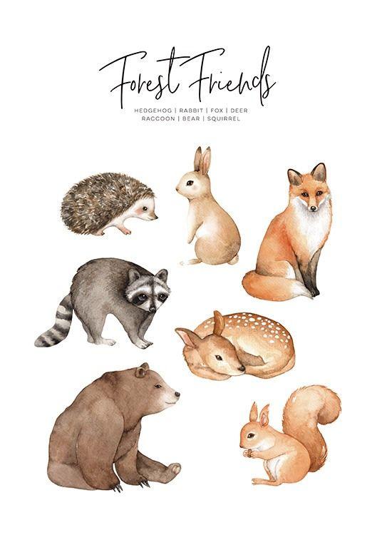 Cartaz de Animais da Floresta no grupo Cartazes de Estampas / Crianças na Desenio AB (11378)