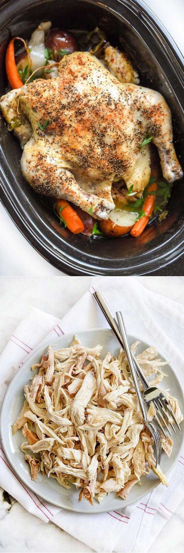 Cooking a whole chicken in the #slowcooker or #crockpot is an incredibly easy way to cook #chicken for a week of lunches or dinners   foodiecrush.com