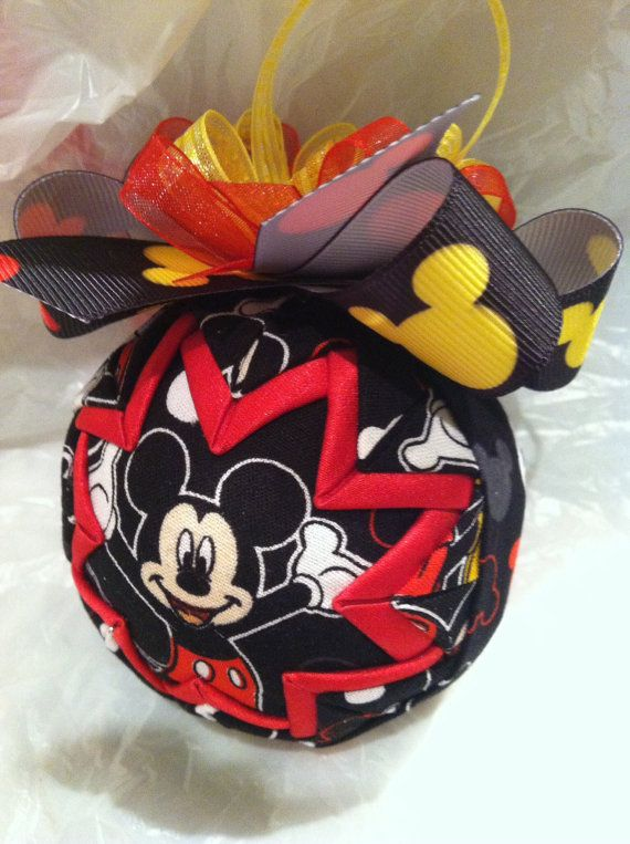Disney Inspired Mickey Mouse Quilted Christmas Ornament