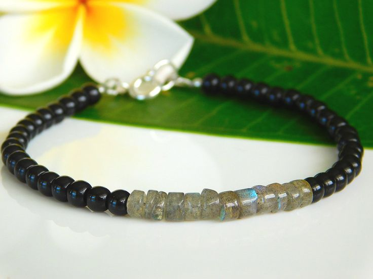 Beaded Gemstone bracelet, labradorite and black obsidian gemstones by jljewellerydesign on Etsy