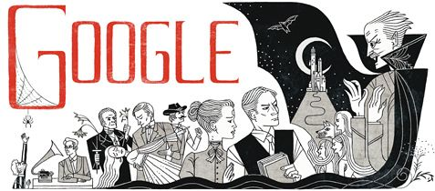 November 8, 2012 is the 165th birth anniversary of Bram Stoker (Abraham Stoker) and Google has posted a doodle inspired by the Irish author's most famous work - 'Dracula'. The lettering of the word Google on the Bram Stoker books doodle is inspired by the cover of the first edition of 'Dracula' published in 1897.