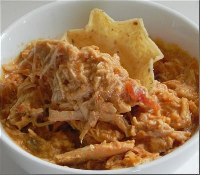1 pound boneless, skinless chicken breasts  1 can cream of chicken soup  1 cup salsa  1 package taco seasoning  1 cup sour cream    1.  Mix soup, salsa and taco seasoning in the bottom of your crockpot.  Sink chicken breasts into the mixture, covering completely.  Cook on low for 5 – 6 hours depending on size of chicken breasts.    2.  Remove chicken, shred and return to the crockpot.  Add sour cream and mix well.  Heat until everything is warmed through.