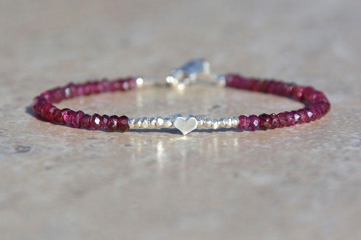 Garnet Gemstone Bracelet, Hill Tribe Silver, Gemstone Bracelet, January Birthstone, Heart Charm Bracelet, Valentines Gift for Her, Under 50