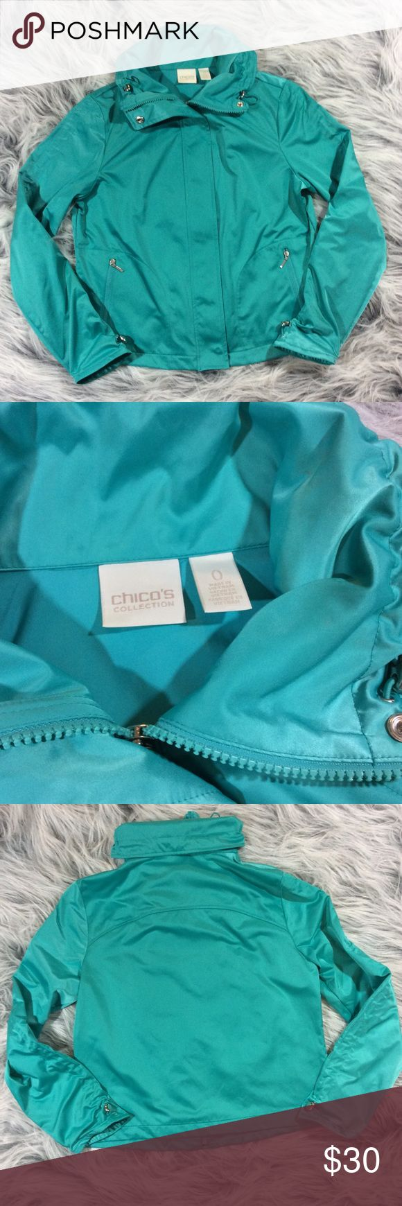 """Chico's Size 0 Small Aqua Blue Green Zip Up Jacket Chico's Women's Zip Up Jacket. Chico's size 0 = size 4/small. Please see measurements. In excellent preowned condition. Measurements are approximately bust 19"""" = 38"""" length 20.5"""" sleeves adjusted to shortest 18.5"""" at normal length 23"""". Chico's Jackets & Coats"""