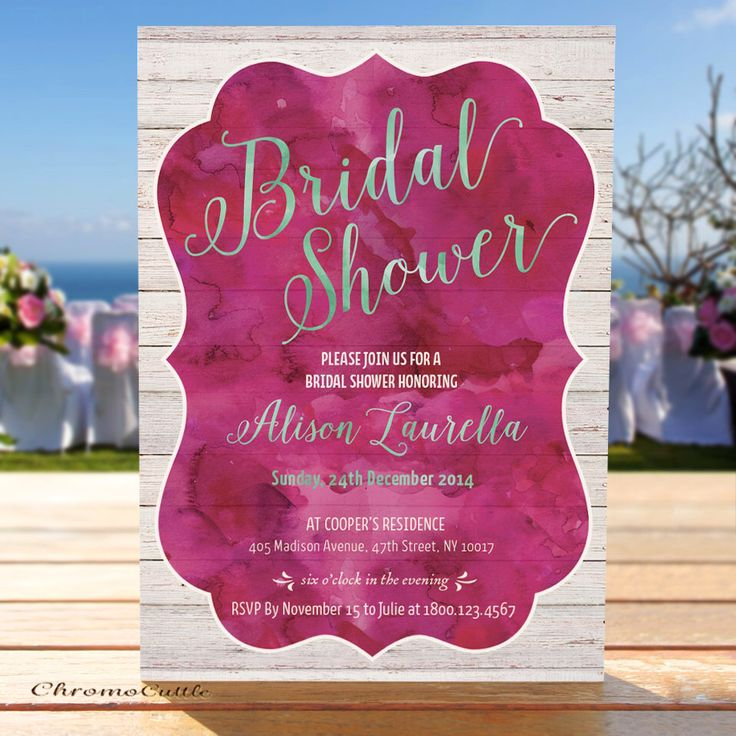 bridal shower invitation pictures%0A Rosewood  Hot Pink  Water Color on Drift Wood Bridal Shower Invitation   Bridal