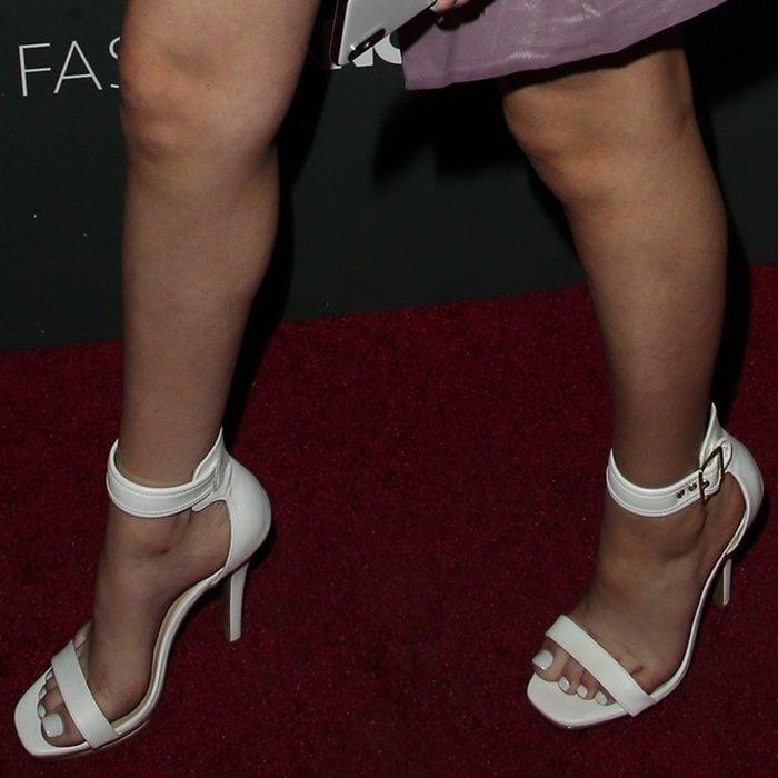 Danielle Bregoli Shows Off Her Feet In White Buckle Heels Danielle Bregoli Buckled Heels High Waisted Shorts