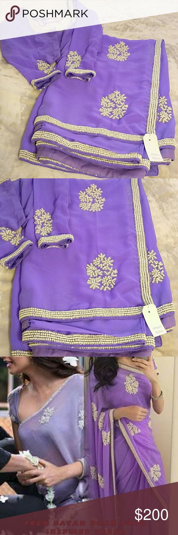 NWT Light purple saree with pearl work Brand new with tag. Inspired by Prem Ratan Dhan Payo Sonam Kapoor saree. Most gorgeous purple saree with pearl work. Blouse is size 36. Dresses