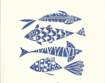 Fishes Linocut - Original Print - Blue Art, Hand Pulled Print