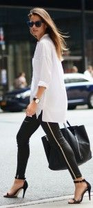 Man's white shirt with black leggings and high heels. Learn the 7 unique ways how to wear man's shirt >>> http://justbestylish.com/7-unique-ways-how-to-wear-mans-shirt/