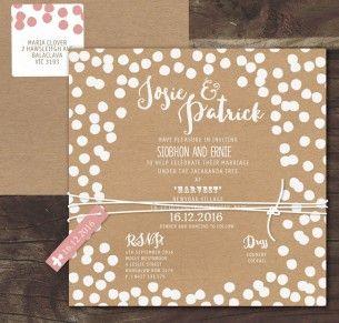 Confetti joy! white ink on kraft invitation