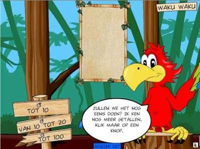 Waku waku. Deze papegaai zegt het antwoord bij jouw gegeven som.