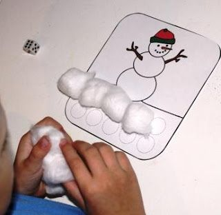 Day 3 - Activity Advent Countdown   Materials: Snowman Game Board from Making Learning Fun 10 cotton balls dice  How to Play: Roll the die. Put the correspon