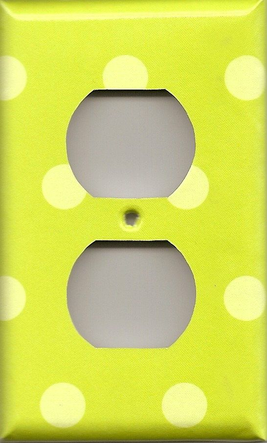 Wonderful Neon Lime Green Polka Dots Wall Outlet Cover By SimplyChicGal, $6.50