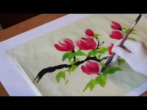 Как рисовать китайские, японские цветы - китайская живопись восточная живопись — Яндекс.Видео