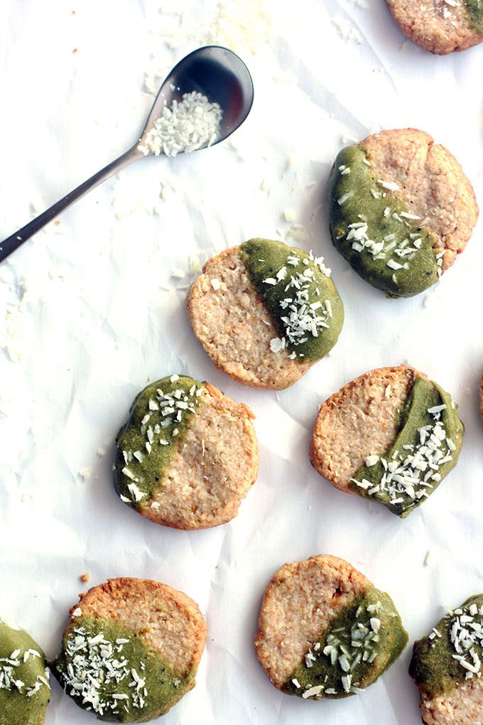 vegan matcha dipped coconut lime shortbread