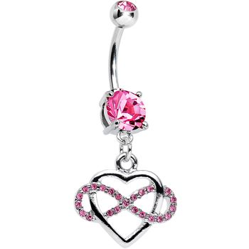 Pink Cubic Zirconia Infinite Love Heart Dangle Belly Ring | Body Candy Body Jewelry