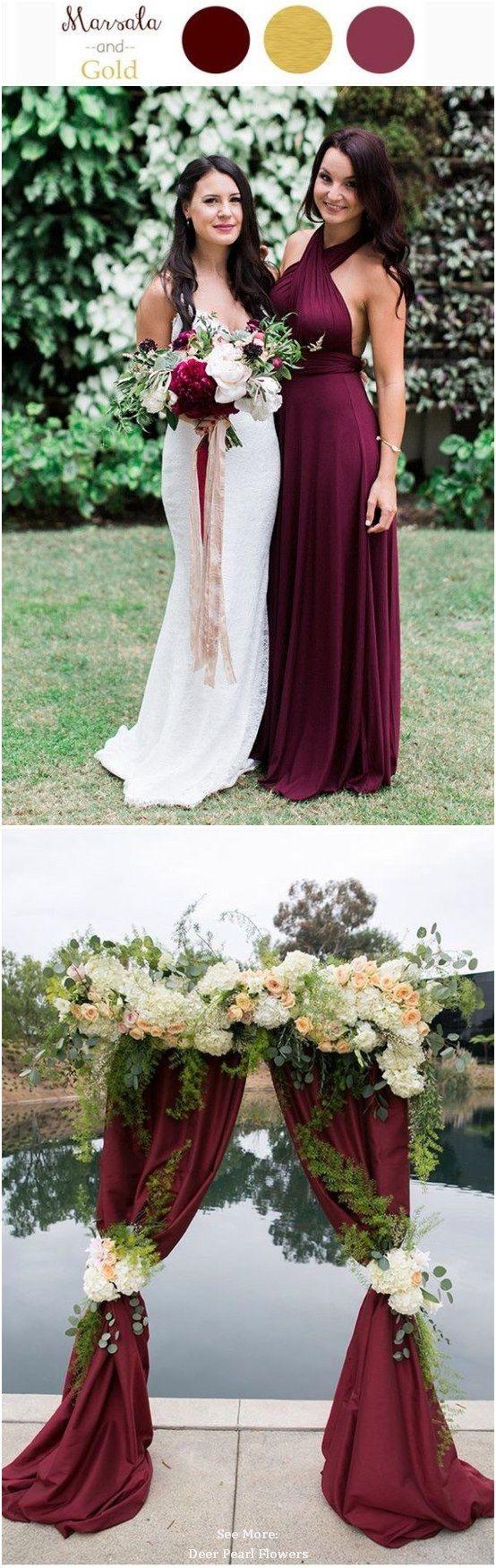 30 Elegant Fall Burgundy and Gold Wedding Ideas / http://www.deerpearlflowers.com/burgundy-and-gold-wedding-ideas/