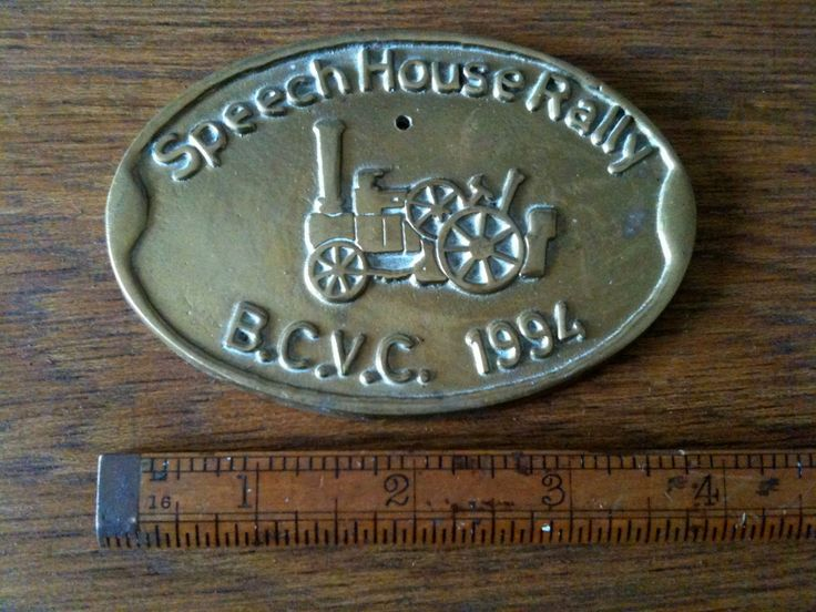 Vehicle Metal Plate - Speech House Rally 1994 - Steam Traction Engine Tractor Vintage Vehicle Rally Show - EVE Purchase in store here http://www.europeanvintageemporium.com/product/vehicle-metal-plate-speech-house-rally-1994-steam-traction-engine-tractor-vintage-vehicle-rally-show-eve/