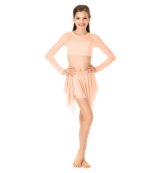 NEW! BODY WRAPPERS Child Long Sleeve X-Back Dance Crop Top Style No: NL1020