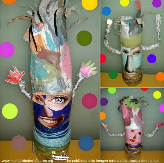 caras divertidas de carnvalal      Botellas de plástico     Papel de aluminio     Celo o cinta adhesiva     Cola o pegamento de barra     Revistas viejas donde salgan personas     Tijeras     Lana, recortes de tela o fieltro     Pinturas de témpera o acrílico