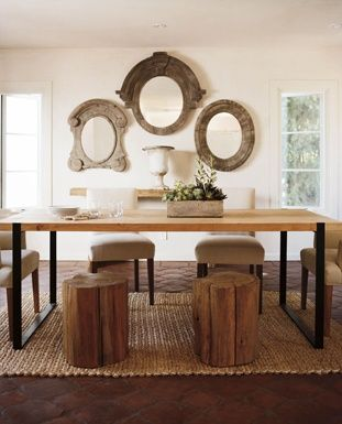 """The vintage mirrors add depth & presence ...as do the stools in balanced composition with the large contrastingly modern table....Los Feliz """"Green"""" House, Nathan Turner"""