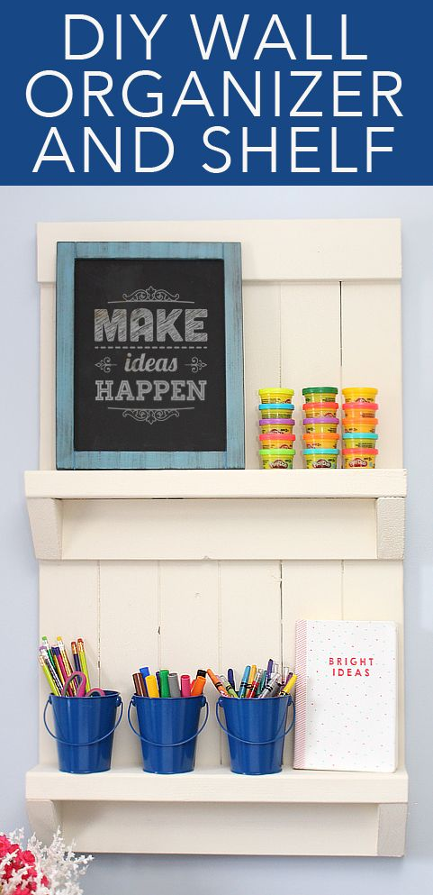 DIY wall shelf organizer tutorial. SUPER easy with minimal cuts. All you need is (4) 6ft 1×4 boards and (1) 6ft 2×4 board. Paint any color to match your space. LOVE this!!