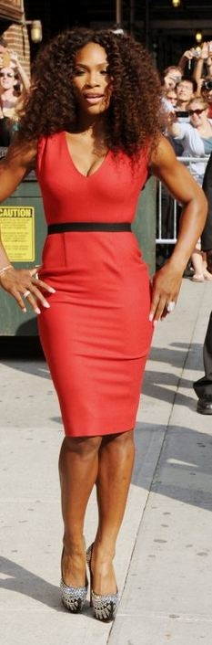 Serena Williams: Dress - Victoria Beckham Shoes - Christian Louboutin same dress different colors Victoria Beckham Belted textured wool-blend dress