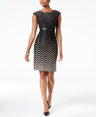 Connected Petite Belted Chevron Sheath Dress, Regular & Petite Sizes | macys.com