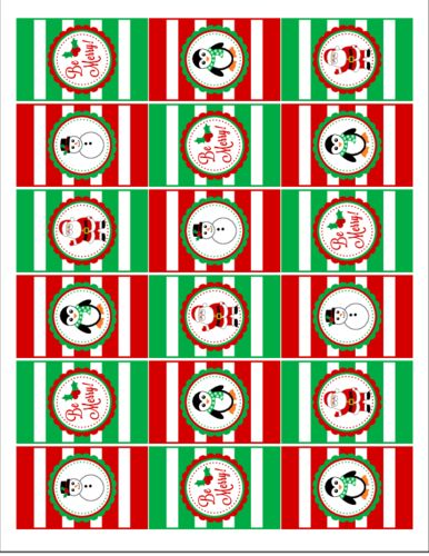 Christmas Hershey's Mini Candy Bar Favor Labels