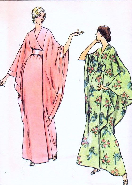 1970s ELEGANT Robe Caftan Hostess Gown Pattern VOGUE 8551 Dramatic ...