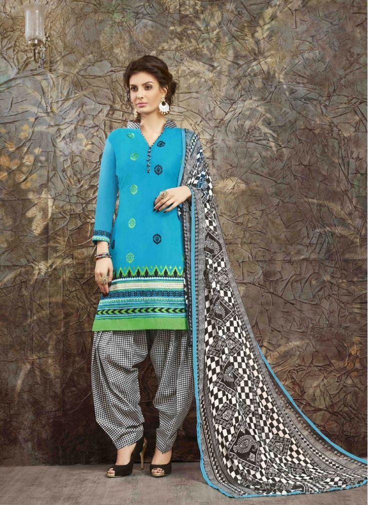 Blue Cotton   Trendy Patiala Suit