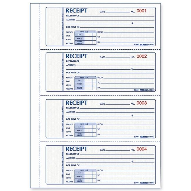 Free Printable Receipts Rediform Rent Receipt Book